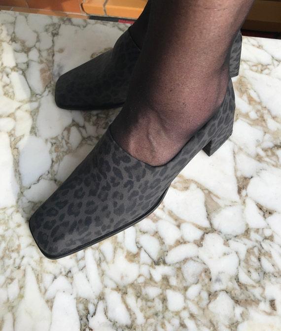 90s glijden op blok hiel dier afdrukken, jaren 90 schoenen, jaren 90 mode, jaren 90 pompen winter schoenen, blok hiel, Franse vintage, jaren 90 stijl