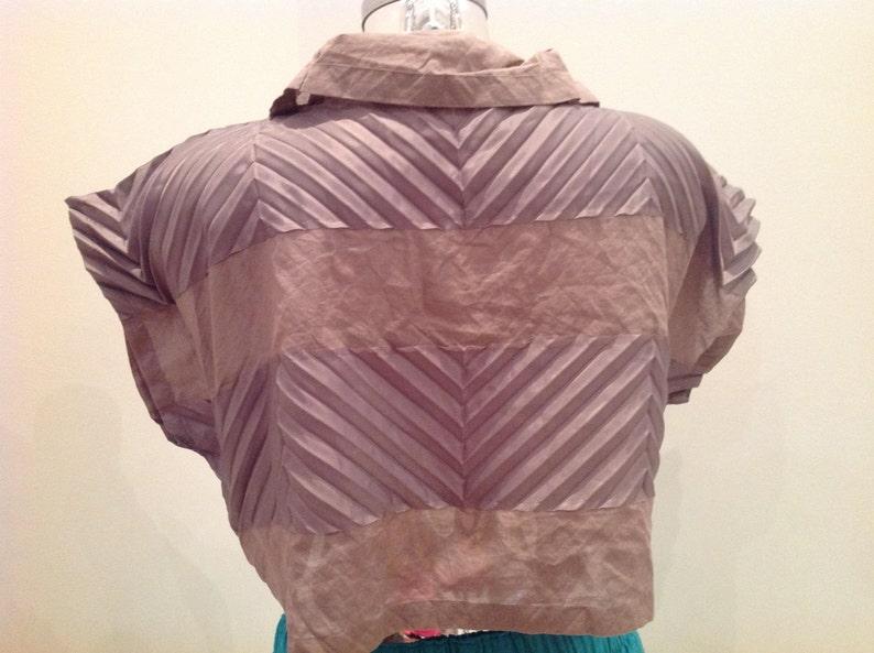 new issey miyake pleated blouse, brown crop top NWT issey miyake crop shirt issey miyake deadstock crop top vintage issey miyake