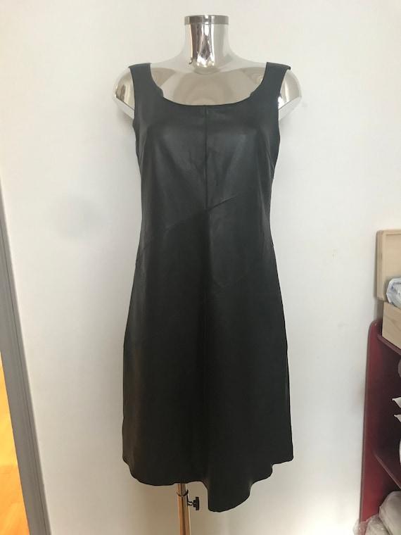 Vintage Kenzo leather dress, black dress, leather
