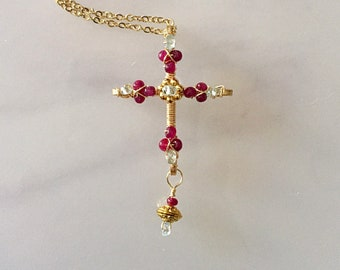 Ruby cross necklace etsy genuine ruby cross necklace aquamarine cross gemstone cross jeweled cross cross pendant wire wrapped cross beaded cross beaded crucifix aloadofball Choice Image