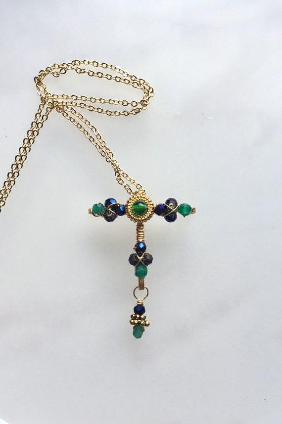 Tau cross-jeweled cross-crystal cross-cross pendant-cross | Etsy