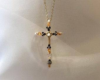 Citrine cross necklace gemstone cross jeweled cross byzantine citrine cross spinel cross jeweled cross gemstone cross black gold cross aloadofball Gallery