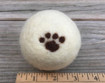 Paw Print Wool Dryer Ball - 100% wool hand wrapped then needle felted paw print