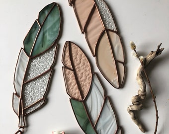 Custom Made to Order Stained Glass Feather