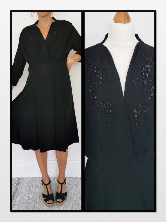Vintage 40s Dress, Black Evening Dress, Moss Crepe