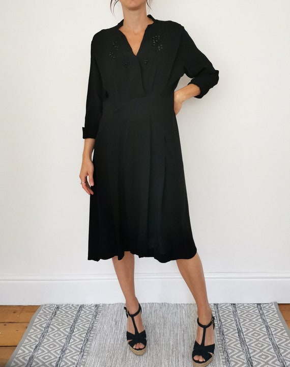 Vintage 40s Dress, Black Evening Dress, Moss Crepe