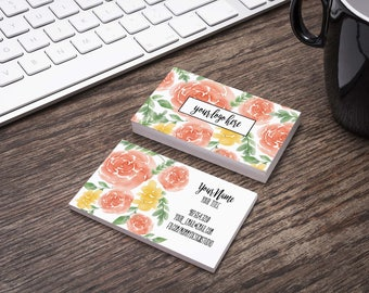 Herbalife business cards etsy water color floral rose business card customizable for your business any logo bundles available dainty business loyalty card reheart Images