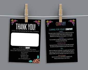 Colored Roses - Thank You/Care Card - Fashion Retailer Bundle - Home Office Approved - Handwritten Note - Wash Instructions - Blank Note