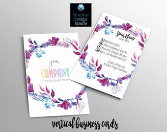 watercolor floral wreathe business card customizable for your business ho approved bundles available for any mlm direct sales digital - Herbalife Business Cards
