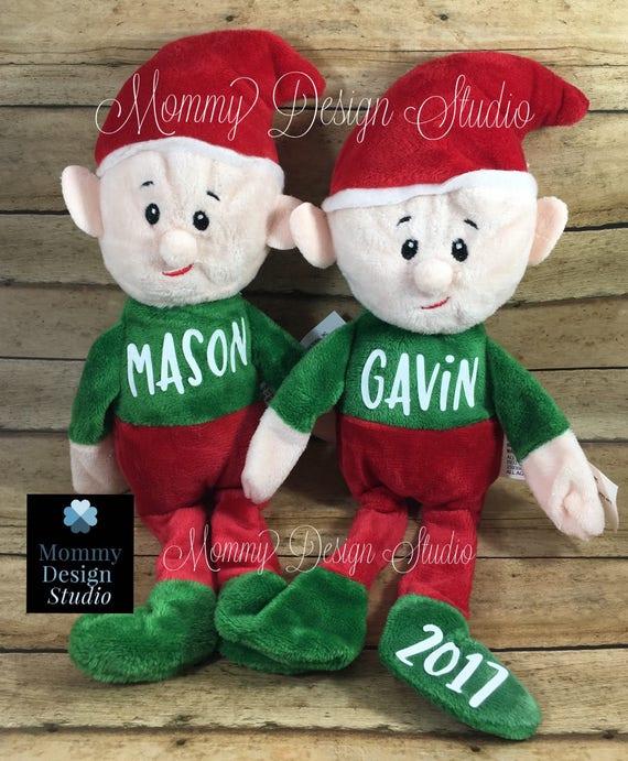 Personalized Christmas Elf Santa Elf Stuffed Plush Animal Etsy