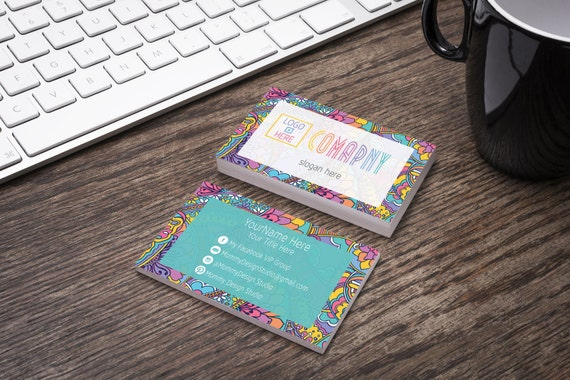Colorful Floral Paisley Pattern Boho Business Card Ho Etsy