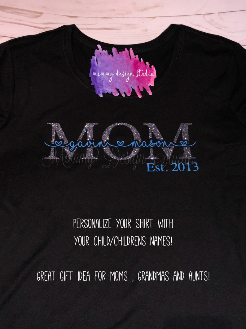 435087b58 Personalized Mom Shirt Kids Name Mom Shirt Custom Mom | Etsy