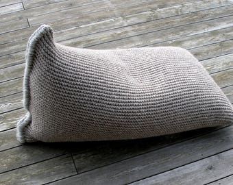 MADE TO ORDER-Kids chunky wool knitted sitting bag-Bean bag-Kids bean bag chair-Wool Nursery chair-Brown Floor pillow-Knit floor cushion