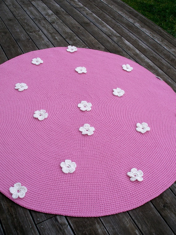 62157cm Pink Children S Room Wool Rug Knitted Etsy
