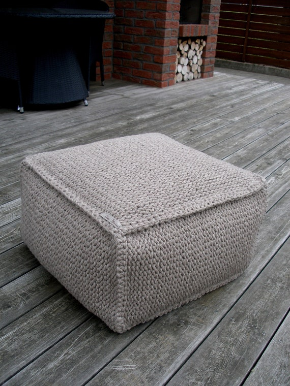 Fabulous Wool Ottoman Brown Knit Chair Brown Pouf Knit Pouf Knitting Pouf Square Ottoman Pouf Brown Floor Pillow Square Pouf Nursery Handmade Pouf Pdpeps Interior Chair Design Pdpepsorg