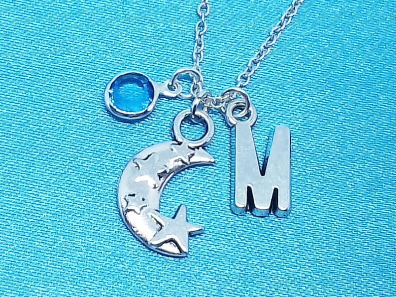 Moon and Star Necklace Personalized Name Initial Birthstone Sterling Silver Women Girl Kid Child Gift Custom Monogram Letter Charm Jewelry