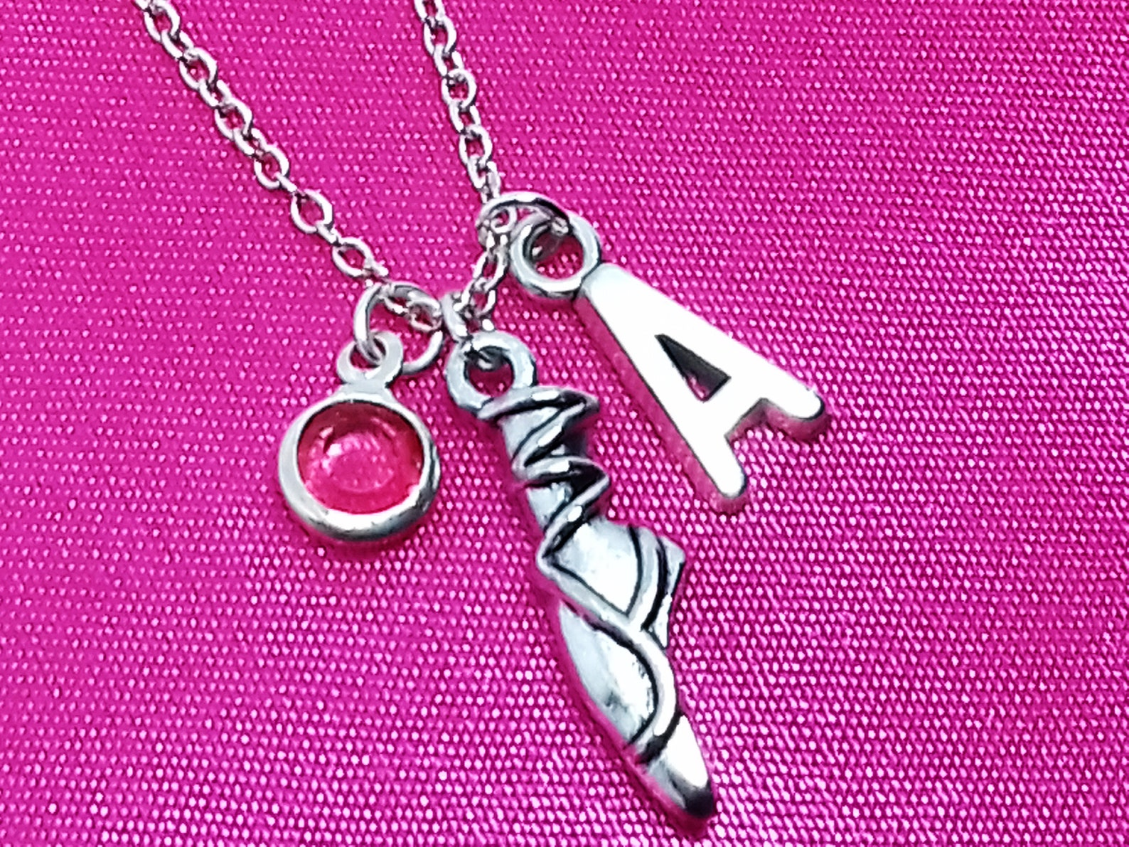 ballerina name necklace, ballet dance dancing dancer, birthstone initial letter monogram, personalized charm pendant jewelry kid
