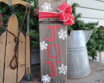 joy reclaimed farmhouse wood christmasholiday sign w snowflakes red ribbon rustic