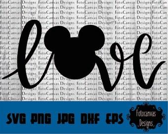 Disney SVG Mickey Head, Love, ClipArt, Iron On, Vinyl, Silhouette Cameo, Cricut, Mickey Mouse, Disney, Disneyland, Disneyworld, Disney