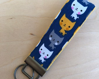 Adorable Cat key fob, blue fabric on yellow webbing, gift for her, back to school, keychain, lanyard, sweet 16 gift, gift for cat lover