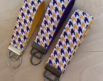 Purple, gold, white houndstooth fabric key fob on purple, golden, or bright yellow webbing, gift for LSU fan, UNA keychain, spirit wristlet