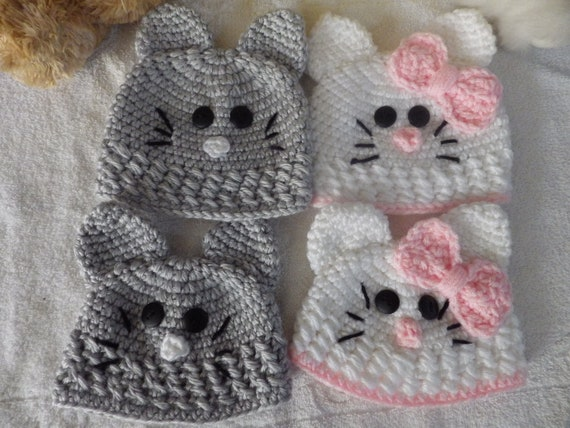 237f3530b69 Newborn and 3-6 Mos. Kitty Beanies Baby Cat Hats Kitten