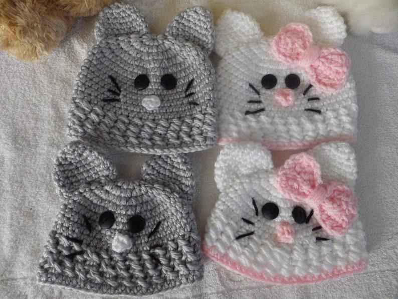 e3d7141e3 Newborn and 3-6 Mos. Kitty Beanies, Baby Cat Hats, Kitten Beanies,newborn  Cat beanie, white kitty beanie, gray kitty beanie, Cat ears hat,