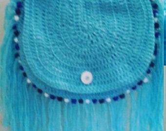 Blue Boho Beaded Fringe Bag, boho purse, fringe purse,