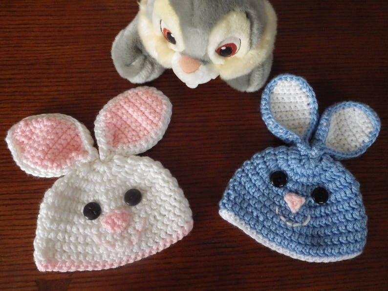 c47d94f7cee Newborn 3 Months White or Blue Bunny Hats bunny ears bunny