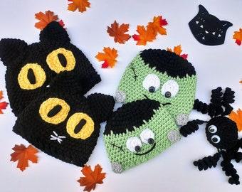 Spooky Hat Nb- child, frankenstein Toddler beanie, child,  black cat hat, spooky cat beanie, halloween monster,  Frankenstein baby hat,