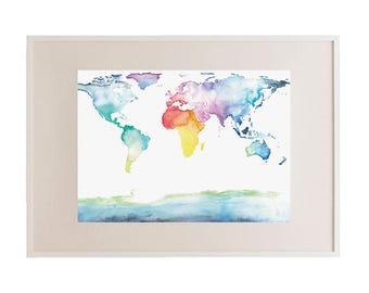 World Map // Multicolour 'Where to Next?' Framed Print // Wall Art