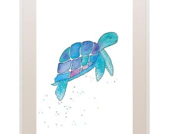 Turtle Print // Watercolour Turtle Art Print // Under the Sea