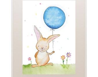Bunny Rabbit Balloon Kids Art // Nursery Art // 'Oh Baby, Baby!' Baby and Kids Framed Prints // Wall Art // Children