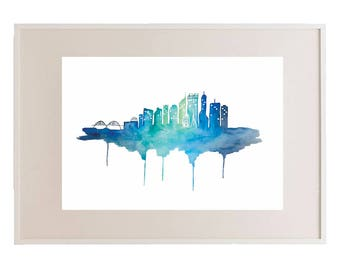 Perth Skyline Blue // City Skyline // Watercolour Print