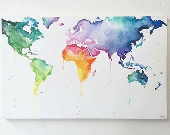 World Map // Multicolour 'Wanderlust' Hand Painted Canvas // Wall Art // Map