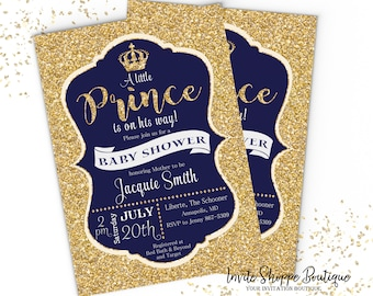 Prince invitation etsy a little prince glittered invitation baby shower boy girl customizable invitation stopboris Images