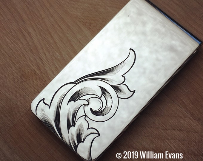 Sterling silver Money Clip Hand Engraved