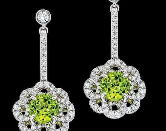 Flower Drop Diamond&Peridot Earrings