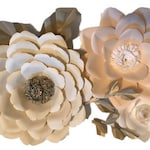 Ivory - White - Blush - Light Antique Gold accent - Giant 3D Paper Flower Set, Large Paper Flowers, Nursery Decor, Baby Shower Backdrop