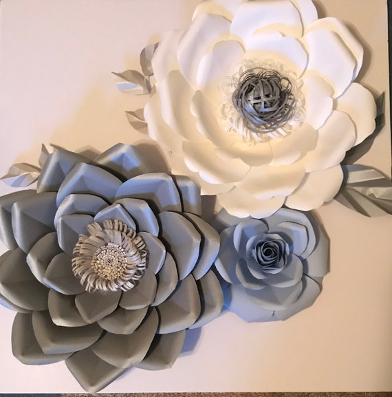 1 12 Purple Pink Yellow Black /& White Metallic Blue Cards 5-3-D Flowers with Brads in Center