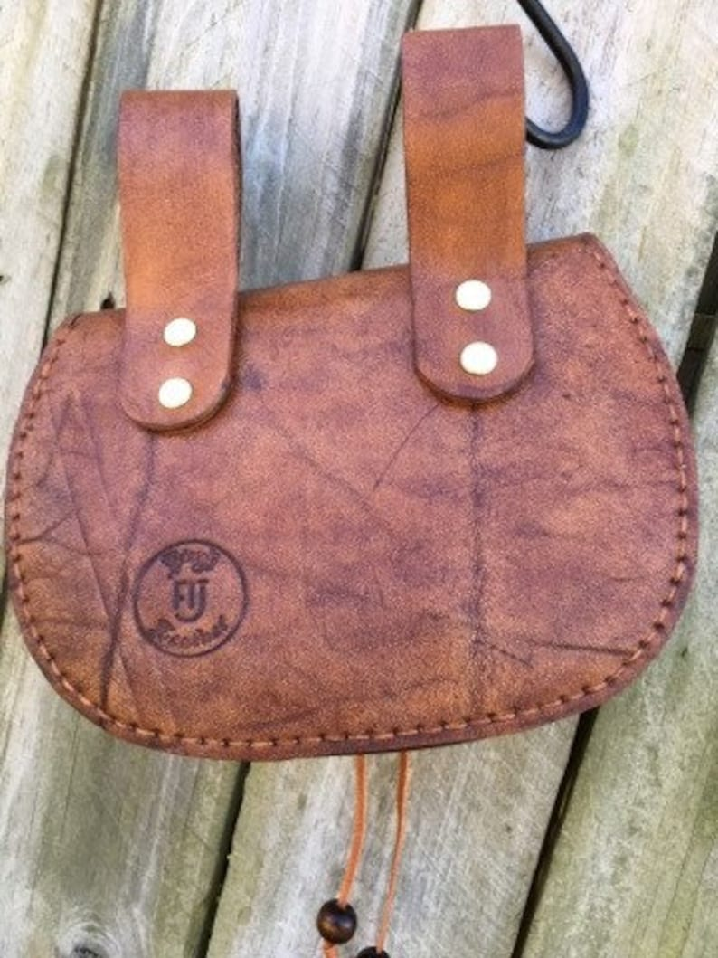 OOAK artisan handmade leather Festival pouch hand tooled Medieval belt pouch