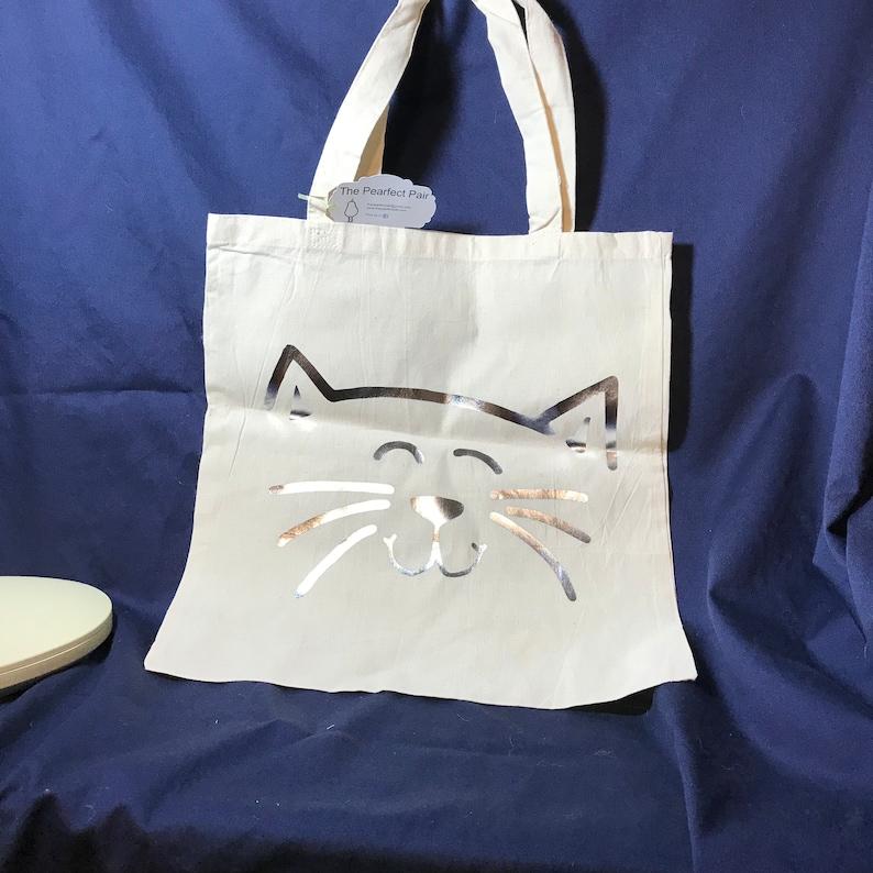 Silver Cat Reusable Cotton Bag