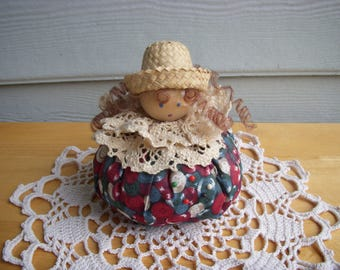 SALE 15% OFF Vintage Pincushion, Girl with Curly Hair