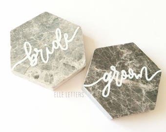 Custom Hand Lettered Marble Tile Place Setting