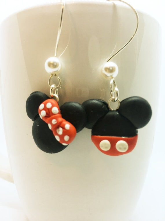 5759039e2184a Disney Inspired Dangle Earrings Mickey and Minnie Mouse Head Polymer Clay  Jewelry