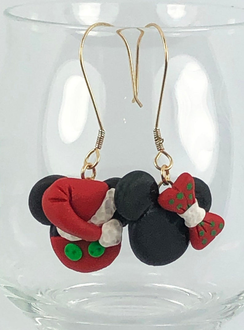 27ad04fb3ed7c Christmas Disney Inspired Dangle Earrings Santa Mickey Mouse and Mrs Clause  Minnie Mouse Head Polymer Clay Jewelry