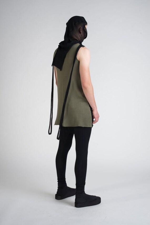 Knit Short Non Sleeve Turtle Neck Vest, Futuristic Clothing, Apocalyptic Unisex Shirt, Goth Mesh, Hood Black, Shirt Tortue, Punk Rave