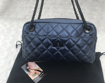 68a728876d6e AUTHENTIC CHANEL Shoulder Bag 2.55 So Black Reissue Camera Bag Distressed  Metallic Blue Quilted Calfskin Leather Mademoiselle Clasp Like New