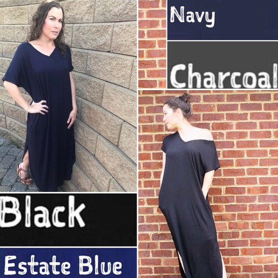 abdb3f72c39 Black Maxi Dress with Pockets Casual Oversized Loose Fit Full