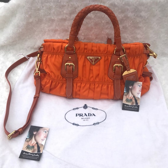 9a6728fc8d1a AUTHENTIC PRADA Ruched Gaufre Tessuto Satchel Purse Bag Orange | Etsy